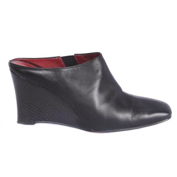Donald J. Pliner Shoes - Donald J Pliner Black Leather Embossed Wedge Mules